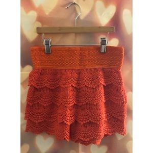Pants - Salmon Colored Lace Shorts | NWOT